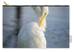 Carry-all Pouch featuring the photograph Great Egret - Preening Time by Ricky L Jones