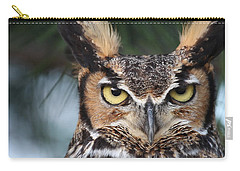 Carry-all Pouch featuring the photograph Great Horned Owl Eyes 51518 by Rick Veldman