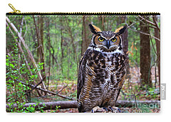 Great Horned Owl Standing On A Tree Log Carry-all Pouch