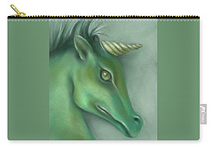 Carry-all Pouch featuring the pastel Green Water Horse Unicorn by MM Anderson
