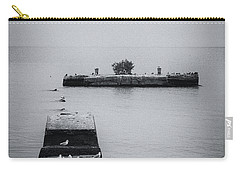 Carry-all Pouch featuring the photograph Gulls On The Pier by Guy Whiteley