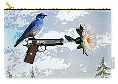 Bluebird Of Happiness- Flower In A Gun Carry-all Pouch