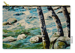 Carry-all Pouch featuring the painting Gushing Waters by Sher Nasser