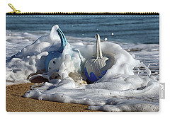 Carry-all Pouch featuring the photograph Halloween Blue And White Pumpkins In The Surf by Bill Swartwout Fine Art Photography