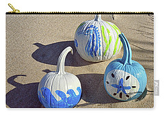 Carry-all Pouch featuring the photograph Halloween Blue And White Pumpkins On A Dune by Bill Swartwout Fine Art Photography