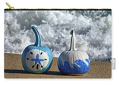 Carry-all Pouch featuring the photograph Halloween Blue And White Pumpkins On The Beach by Bill Swartwout Fine Art Photography