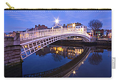 Carry-all Pouch featuring the photograph Ha'penny Bridge At Blue Hour by Barry O Carroll