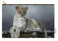 Carry-all Pouch featuring the photograph Happy Lioness by Debi Dalio