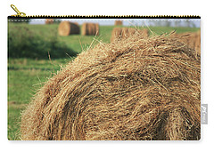 Carry-all Pouch featuring the photograph Hay Bail Closeup by Tatiana Travelways