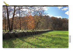 Carry-all Pouch featuring the photograph Hay Bales On An Autumn Day by Angela Murdock