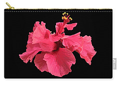 Hibiscus Pink In Black Carry-all Pouch