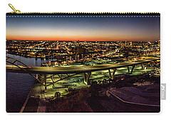 Carry-all Pouch featuring the photograph Hoan Bridge At Dusk Panorama by Randy Scherkenbach