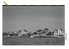 Homes Across The Water In Morning In Black And White Carry-all Pouch