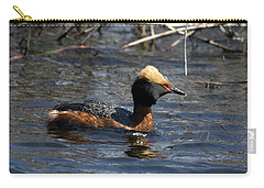 Carry-all Pouch featuring the photograph Horned Grebe 102713 by Rick Veldman