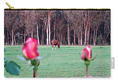 Horse And Roses Carry-all Pouch