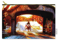 Carry-all Pouch featuring the photograph Horse Drawn Carriage Covered Bridge Long Grove Il 014060036 by Tom Jelen