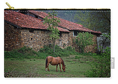 Horse In The Field Next To A Rural House Carry-all Pouch