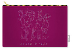 Carry-all Pouch featuring the digital art Horse Magic Line Drawing Horse Silhouette Design by OLena Art Brand