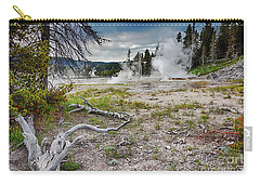 Carry-all Pouch featuring the photograph Hot Springs And Geysers Landscape In Yellowstone by Tatiana Travelways