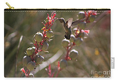 Hummingbird Flying To Red Yucca 3 In 3 Carry-all Pouch