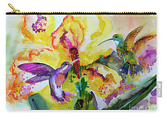 Carry-all Pouch featuring the painting Hummingbird Song Watercolor by Ginette Callaway