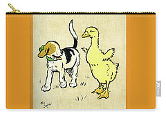 Illustration Of Puppy And Gosling Carry-all Pouch