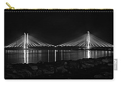 Carry-all Pouch featuring the photograph Indian River Bridge After Dark In Black And White by Bill Swartwout Fine Art Photography