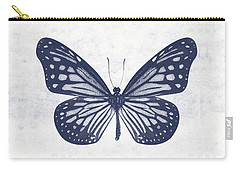 Indigo And White Butterfly 2- Art By Linda Woods Carry-all Pouch