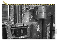 Carry-all Pouch featuring the photograph Inside The Projection Room - Bw by Kristia Adams