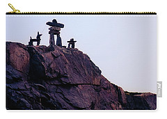 Carry-all Pouch featuring the photograph Inukshuk Family In Labrador, Canada by Tatiana Travelways