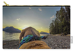 Carry-all Pouch featuring the photograph Jackson Lake Sunset By Photo Dog Jackson by Matthew Irvin