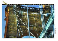 Carry-all Pouch featuring the photograph John Roebling's Historic Cincinnati Suspension Bridge by Mel Steinhauer