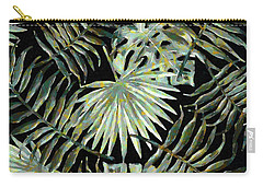 Jungle Dark Tropical Leaves Carry-all Pouch