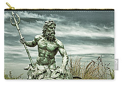 Carry-all Pouch featuring the photograph King Neptune Guards The Cape Charles Beach by Bill Swartwout Fine Art Photography