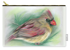 Carry-all Pouch featuring the pastel Lady Cardinal In The Pine by MM Anderson