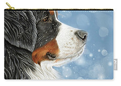 Carry-all Pouch featuring the mixed media Let It Snow - Arctic Blue by Donna Mulley