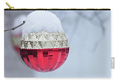 Carry-all Pouch featuring the photograph Let It Snow On The Red Christmas Ball - Outside Winter Scene  by Cristina Stefan
