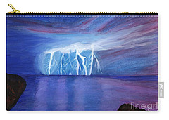 Lightning On The Sea At Night Carry-all Pouch