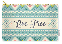 Live Free - Boho Chic Ethnic Nursery Art Poster Print Carry-all Pouch