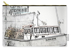 Carry-all Pouch featuring the digital art Lobster Boat - Mount Desert Island by Pennie McCracken