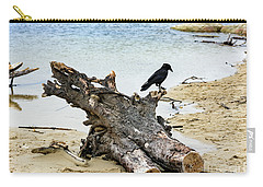 Lone Carmel Crow Atop Driftwood Carry-all Pouch