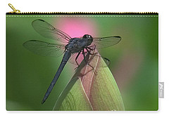 Carry-all Pouch featuring the photograph Lotus Bud And Slaty Skimmer Dragonfly Dl0006 by Gerry Gantt