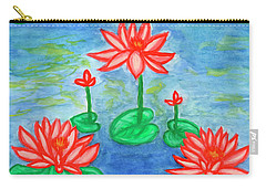Carry-all Pouch featuring the painting Lotuses Blooming by Dobrotsvet Art