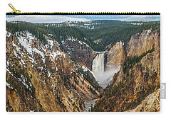 Carry-all Pouch featuring the photograph Lower Yellowstone Falls - Horizontal by Matthew Irvin