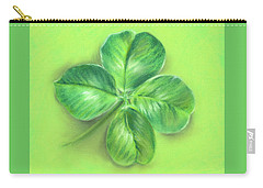 Carry-all Pouch featuring the pastel Lucky Four Leaf Clover by MM Anderson