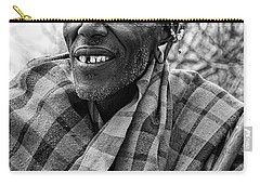 Carry-all Pouch featuring the photograph Maasai Chieftain In Black And White by Kay Brewer