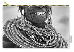 Carry-all Pouch featuring the photograph Maasai Woman In Black And White by Kay Brewer