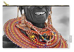Carry-all Pouch featuring the photograph Maasai Woman In Selective Color by Kay Brewer