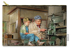 Carry-all Pouch featuring the photograph Machinist - Spending Time With Grandpa 1921 by Mike Savad