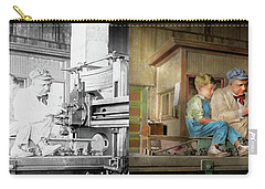 Carry-all Pouch featuring the photograph Machinist - Spending Time With Grandpa 1921 - Side By Side by Mike Savad
